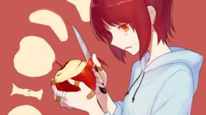 Apple Bandage Hoodie Knife Orange Eyes Red Hair Short Hair 2480x1748 Wallpaper