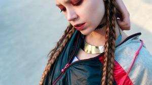 Ksenia Kokoreva Women Brunette Long Hair Braids Makeup Eyeshadow Lipstick Jacket Outdoors Park Zippe 1326x1968 Wallpaper