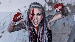 Women Model Dreadlocks Long Hair Looking At Viewer Open Mouth Makeup Face Paint Tattoo Lipstick Dark 3196x2131 Wallpaper