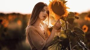Brunette Depth Of Field Girl Model Summer Sunflower Woman Yellow Flower 2048x1368 Wallpaper