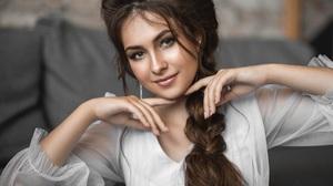 Vladimir Vasilev Women Brunette Looking At Viewer Smiling Braids Portrait Makeup White Clothing Dept 2160x1440 Wallpaper