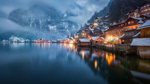 Austria Evening Fog Hallstatt House Lake Mountain Reflection Winter 2048x1111 Wallpaper