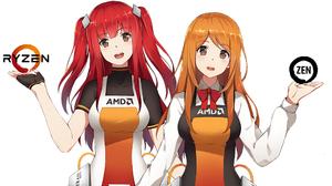 AMD Zenka Ryfa Long Hair Looking At Viewer Fringe Hair Smile Brown Eyes Redhead Dress Gloves Shirt B 2560x1440 Wallpaper