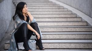 Asian Model Women Long Hair Dark Hair Stairs Sitting Wool Jacket Black Pants Black Shirt Depth Of Fi 3840x2476 Wallpaper