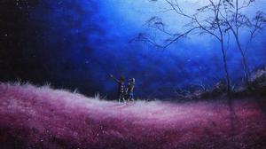 Night Star Tree 3840x2160 Wallpaper