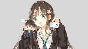 Anime Anime Girls Brunette Long Hair Bangs Green Eyes Open Mouth Blush Suite Necktie Chibi Anime Boy 1920x1080 Wallpaper
