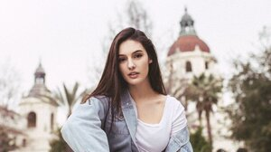 Natalie Gibson Model Looking At Viewer Women Brunette Sitting Jean Jacket Sneakers Women Outdoors 1364x2048 wallpaper