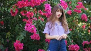 Model Brunette Pink Flower Shorts 2048x1365 Wallpaper