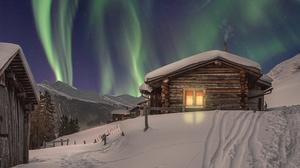 Aurora Borealis House Snow Winter 2560x1600 Wallpaper