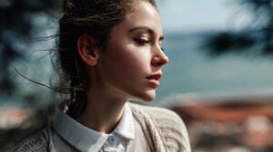 Ksenia Kokoreva Women Face Portrait Yuriy Lyamin Closeup Brunette Profile 1800x1013 Wallpaper