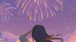 Anime Anime Girls Fireworks Cityscape 942x2038 Wallpaper