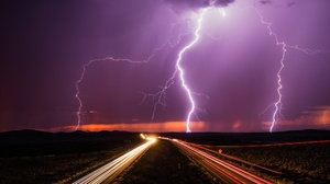 Cloud Light Lightning Night Road Storm Time Lapse 2048x1095 Wallpaper