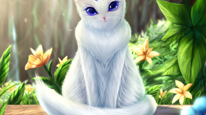 Artwork Cats Purple Eyes 2440x2877 Wallpaper