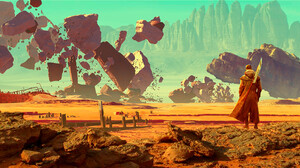 Artwork Digital Art Desert Rocks Fantasy Art 2222x826 Wallpaper