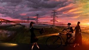 Bike Girl Sunset 3000x2000 Wallpaper