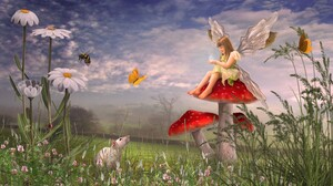 Artistic Daisy Fairy Fantasy Little Girl Mouse Mushroom 2304x1440 Wallpaper