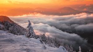 Winter Cloud Snow Sunset Mountain Nature 4750x3167 wallpaper