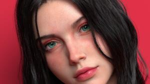 Chen Wang 3D CGi Render Face Women Looking At Viewer Dark Hair Green Eyes Closeup Red Background Sim 1800x2048 Wallpaper