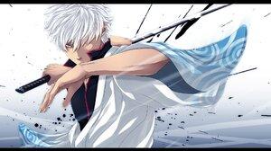 Gintama Gintoki Sakata Man Samurai Sword White Hair 1920x1080 Wallpaper