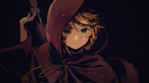 Anime Anime Girls Cloack Green Eyes Redhead Bow Scars Arrows Black Background Short Hair Emma The Pr 4892x3347 Wallpaper