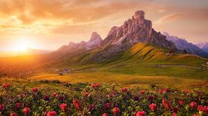 Carsten Bachmeyer Landscape Hills Cliff Grass Flowers Horizon Sun Rays Sky Clouds Sunlight Nature 2000x1341 Wallpaper