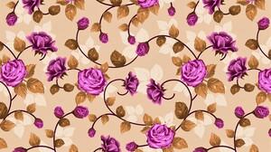 Floral Flower Leaf Pattern Purple Flower Rose 3000x2000 Wallpaper