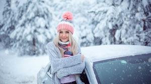 Blonde Blue Eyes Girl Hat Model Smile Snowfall Winter Woman 1920x1280 Wallpaper