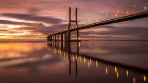 Ricardo Mateus Landscape Bridge Sky Clouds Sunset Water Reflection Lights 2048x1366 Wallpaper