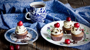 Cherry Coffee Cream Cupcake Dessert Still Life 1920x1264 Wallpaper