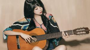 Legs Crossed Guitar Open Mouth Dark Hair Asian Model Dress Sitting Simple Background Closed Eyes Wom 1918x1280 Wallpaper