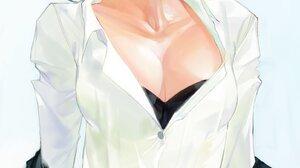 Anime Anime Girls Kekkai Sensen Chain Sumeragi White Shirt Sitting Black Hair Bob Hairstyle Costumes 1448x2048 Wallpaper