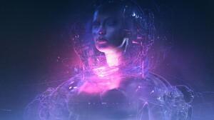 Hologram Face Purple Blue Fantasy Art 3000x1497 Wallpaper