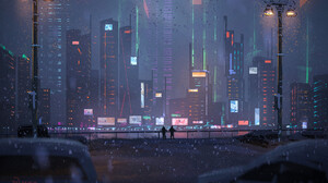 Cityscape Night Winter 2048x1365 Wallpaper