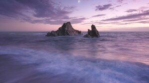 Nature Landscape Sea Waves Beach Sand Moon Sunset Rocks Portrait Display Clouds Stars 1518x2126 Wallpaper