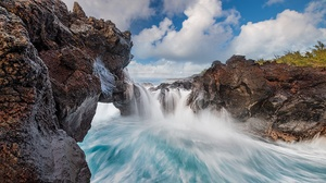 Indian Ocean Coast Water Rock Nature La Reunion Island 1920x1080 Wallpaper