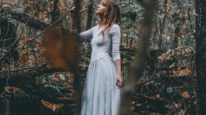 Women Model Side View Forest Redhead Dreadlocks White Dress 3456x5184 Wallpaper