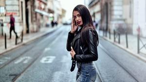 Woman Black Hair Lipstick Depth Of Field Leather Jacket 1921x1080 Wallpaper