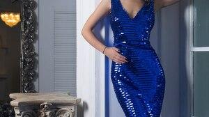 Ksenia Kokoreva Women Dress Yuriy Lyamin Blue Clothing Scales Makeup Mirror Tight Dress 1376x2160 Wallpaper