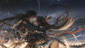 Black Hair Boy Digital Art Girl Long Hair Pixiv Fantasia Weapon 3750x1875 wallpaper