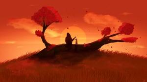 Dog Sunset 2560x1440 wallpaper
