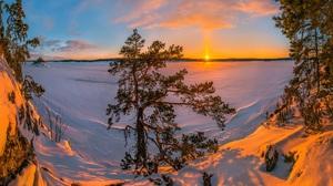 Sunset Tree Lake Snow Sun 1920x1200 Wallpaper