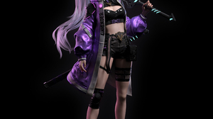 Cifangyi CGi Silver Hair Long Hair Ponytail Warrior Purple Clothing Women Socks Weapon Katana Neon G 3840x3840 Wallpaper