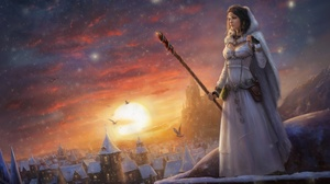 Cloud Girl Snow Snowfall Sorceress Staff Sunset Town White Dress Winter Woman 1980x1320 Wallpaper