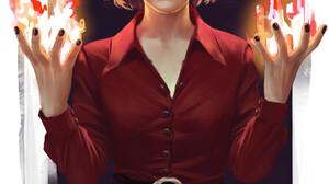 Kiernan Shipka Drawing Witch Fire Blonde White Eyes Short Hair Portrait Display Smiling Digital Art  1920x2716 Wallpaper