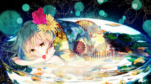 Reflection Water Flower Blonde Japanese Clothes 1920x1356 wallpaper