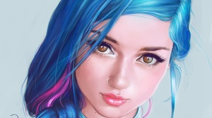Artistic Blue Hair Face Fantasy Girl Nose Ring Woman 3205x2605 wallpaper