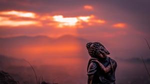 Sunset Depth Of Field Statue 3600x2400 Wallpaper