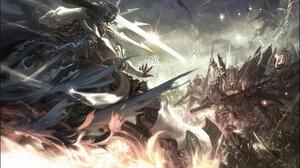 Seunghee Lee Artwork ArtStation Fantasy Art Battle Sword Weapon Armored Fantasy Armor Fire 1882x1080 Wallpaper