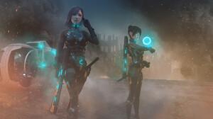 Lou LL Digital Art Artwork Futuristic Hologram Weapon Soldier Science Fiction 2400x1350 Wallpaper