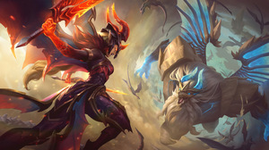 Kayle Kayle League Of Legends Galio Galio League Of Legends Dragon League Of Legends Riot Games Fire 7680x4320 Wallpaper
